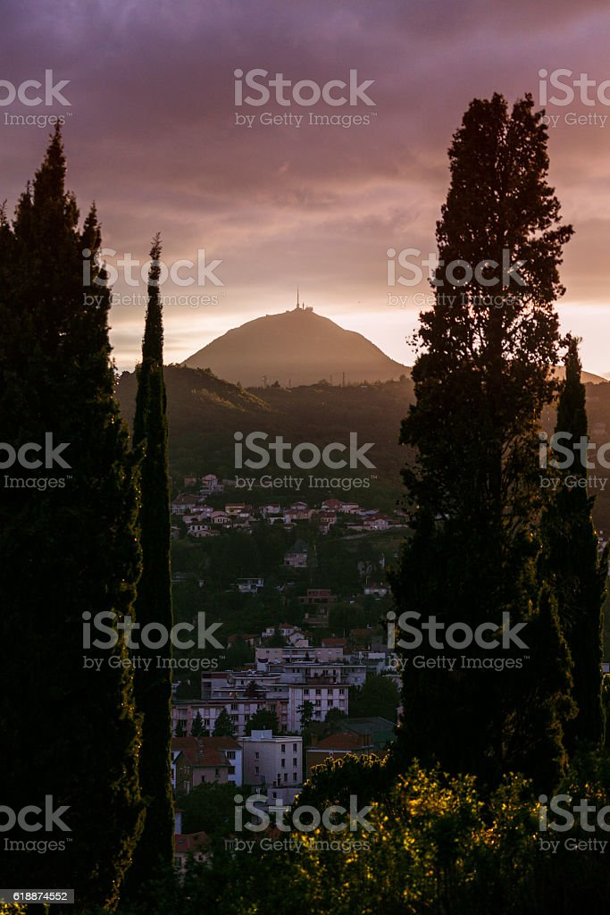 Puy-de-Dome volcano seen from Clermont-Ferrand stock photo