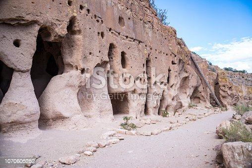 Puye Cliff Dwellings and caves are ruins where ancient pueblo people, called Anasazi, lived who are ancestors of the modern day Santa Clara people, New Mexico, USA