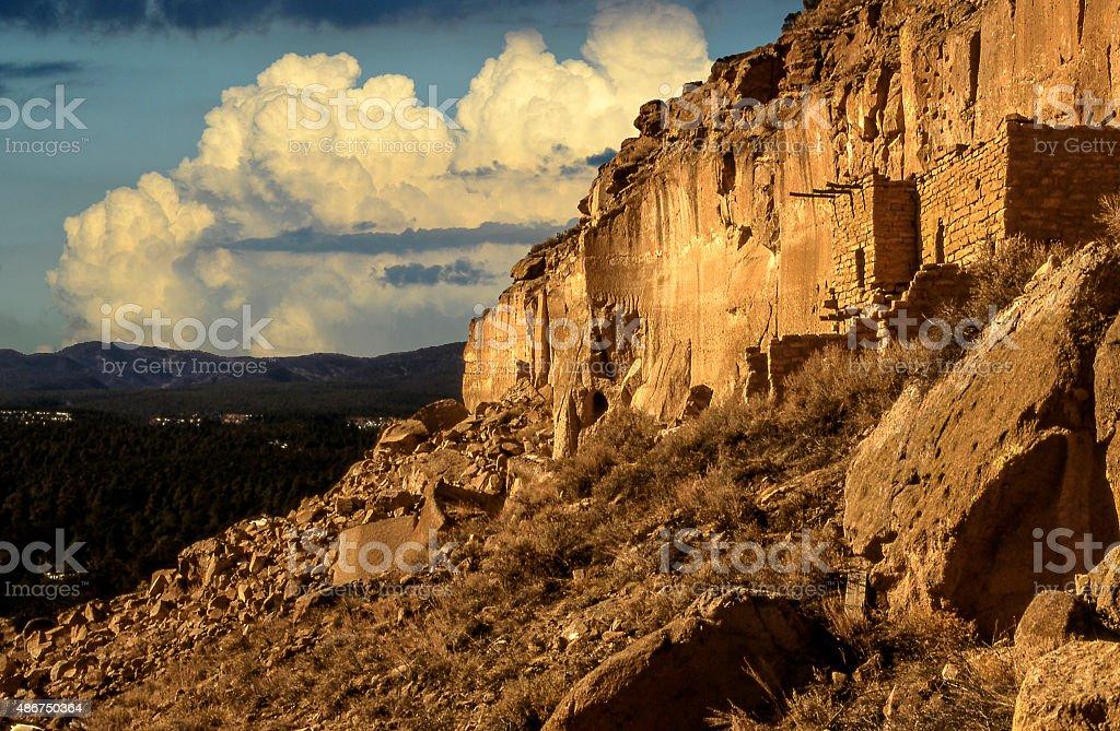 Puye Cliff Dwellings stock photo