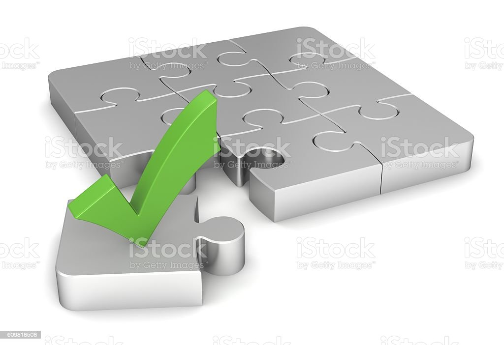 puzzle and check mark concept illustration stock photo