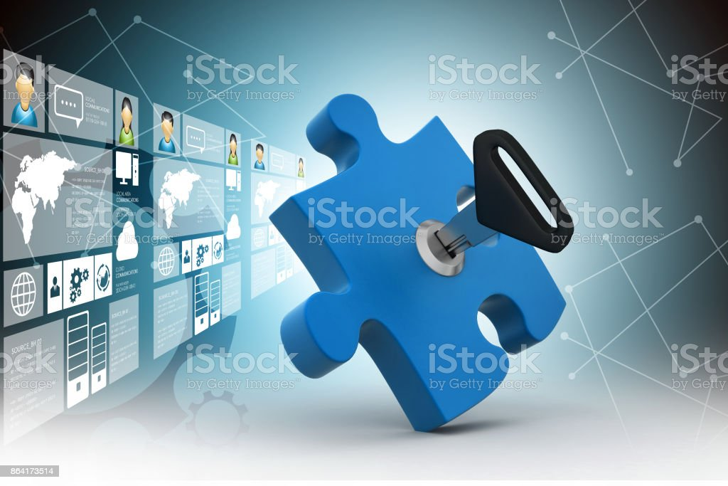Puzzle and key royalty-free stock photo