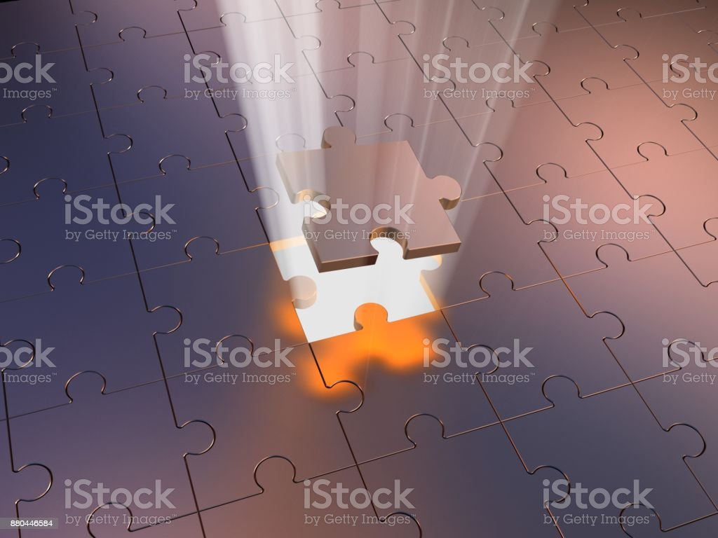 Puzzle und Volumen Licht. 3D illustration – Foto
