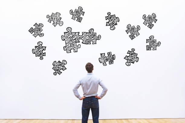 puzzle-montage, business-konzept - koordination stock-fotos und bilder
