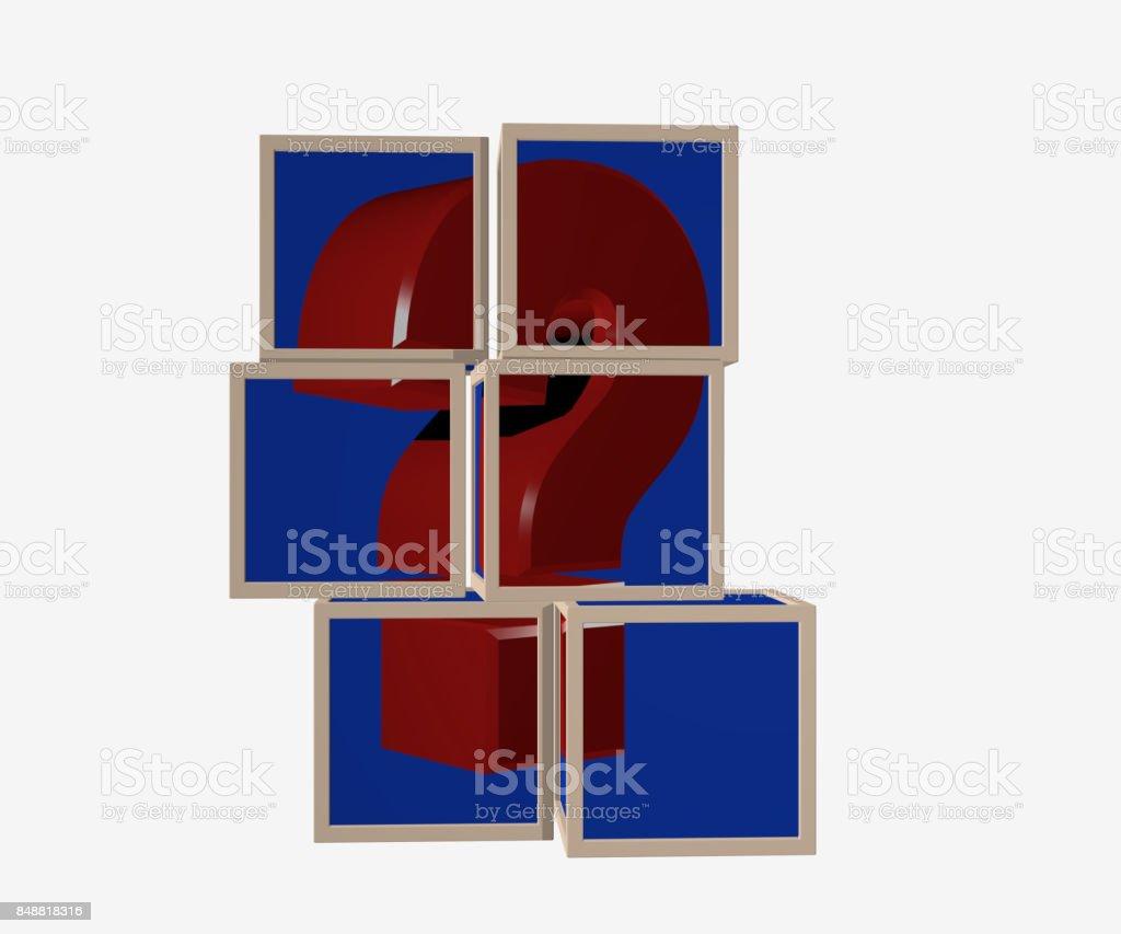 Puzzle aus Würfeln, die ein Fragezeichen bilden stock photo
