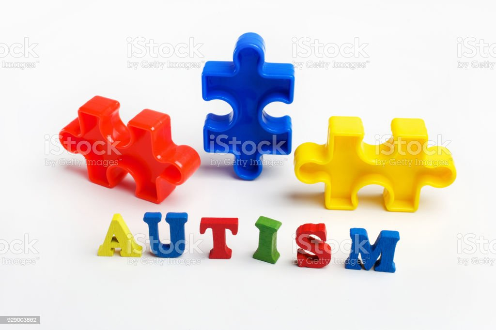 Puzzle: autism awareness day or month concept stock photo