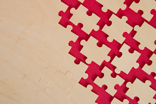 puzzle background on red stock photo
