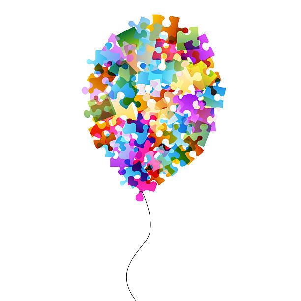 puzzle globo aerostático - foto de stock
