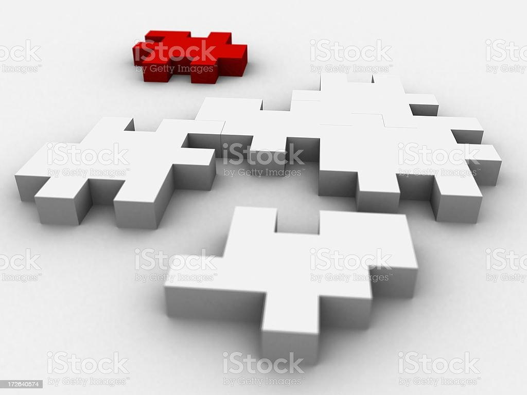 Puzzle Blocks - One Red royalty-free stock photo