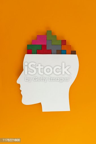 Human head with puzzle brain. Conceptual image.