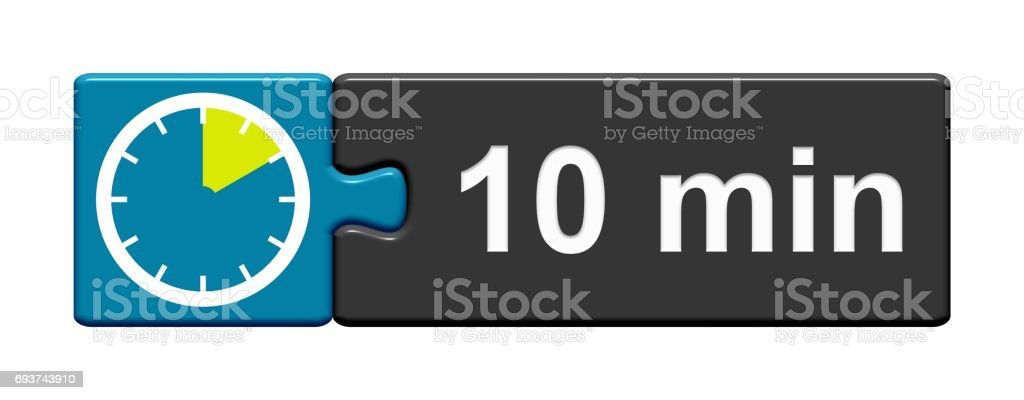 Puzzle Button blue grey: 10 Minutes stock photo
