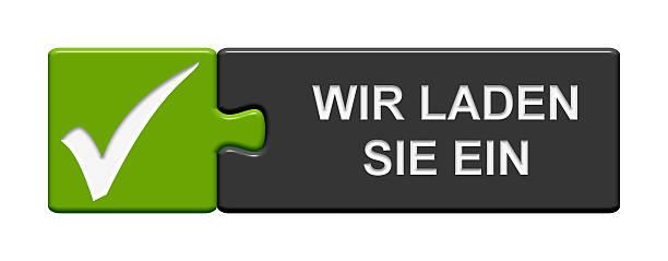 puzzle knopf einladung in deutsch - kostenlose onlinespiele stock-fotos und bilder