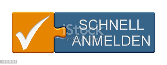 istock Puzzle Button register now in german 483558068