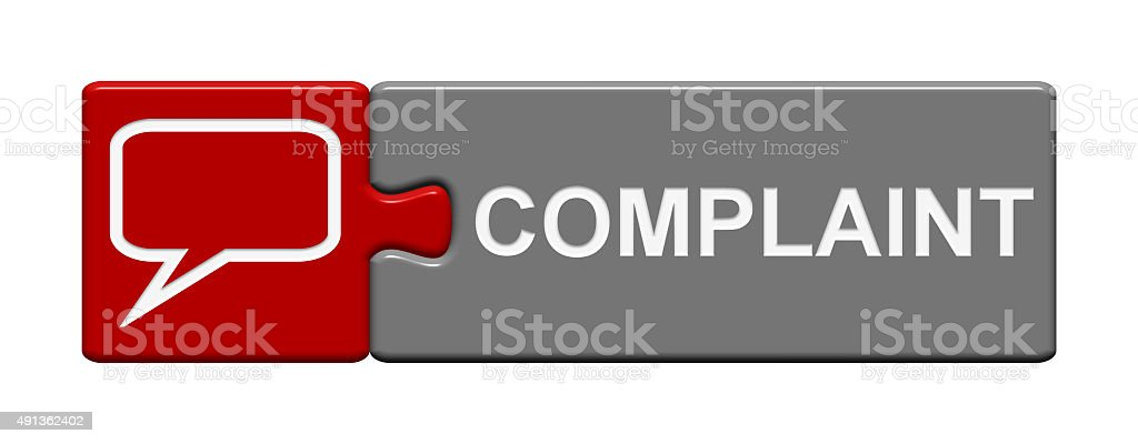 Puzzle Button showing complaint stock photo
