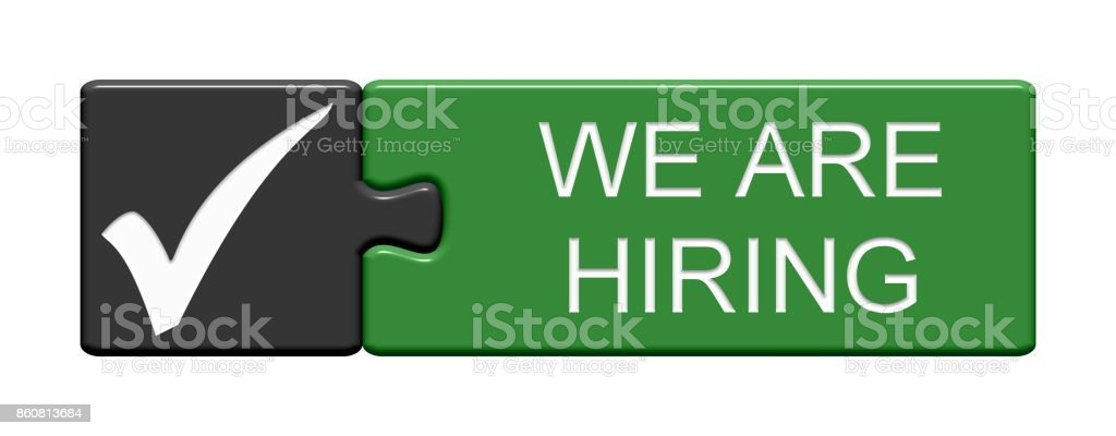 Puzzle Button: We Are Hiring stock photo