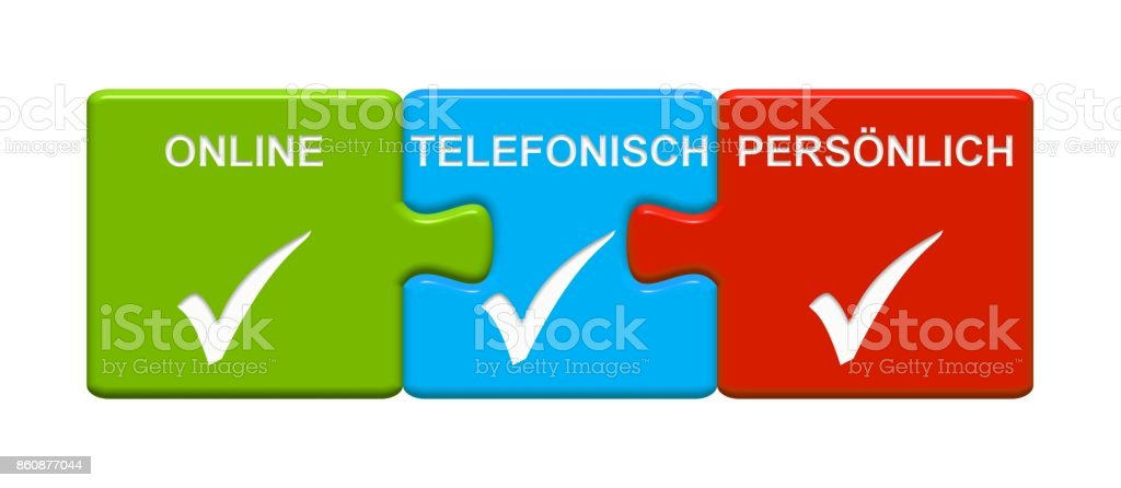 3 Puzzle Buttons showing Contact Online By Phone or Personally  german stock photo