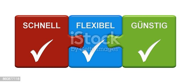 istock 3 Puzzle Buttons showing Fast Flexible Cheap german 860877118
