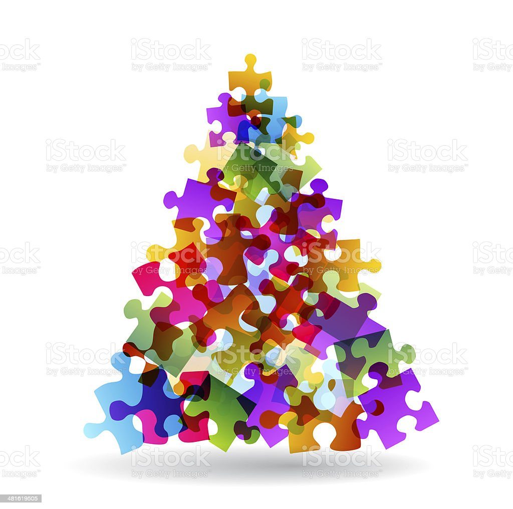 Puzzle christmas tree stock photo