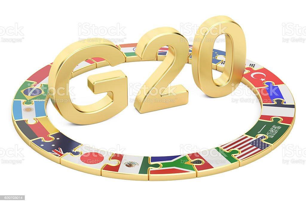 G20 puzzle concept, 3D rendering stock photo