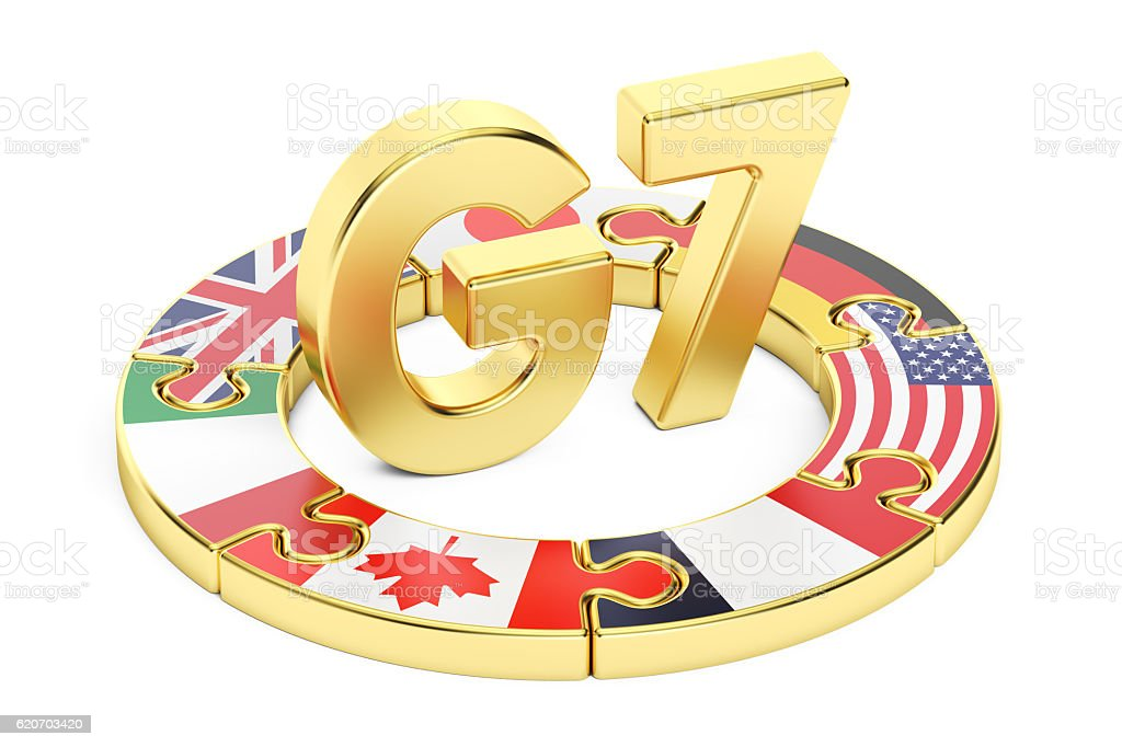 G7 puzzle concept, 3D rendering stock photo