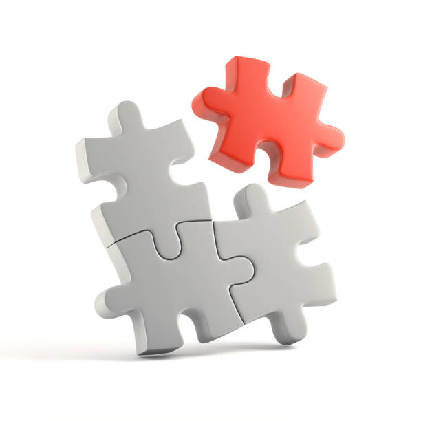 Puzzle concept 3d illustration jigsaw piece stock pictures, royalty-free photos & images