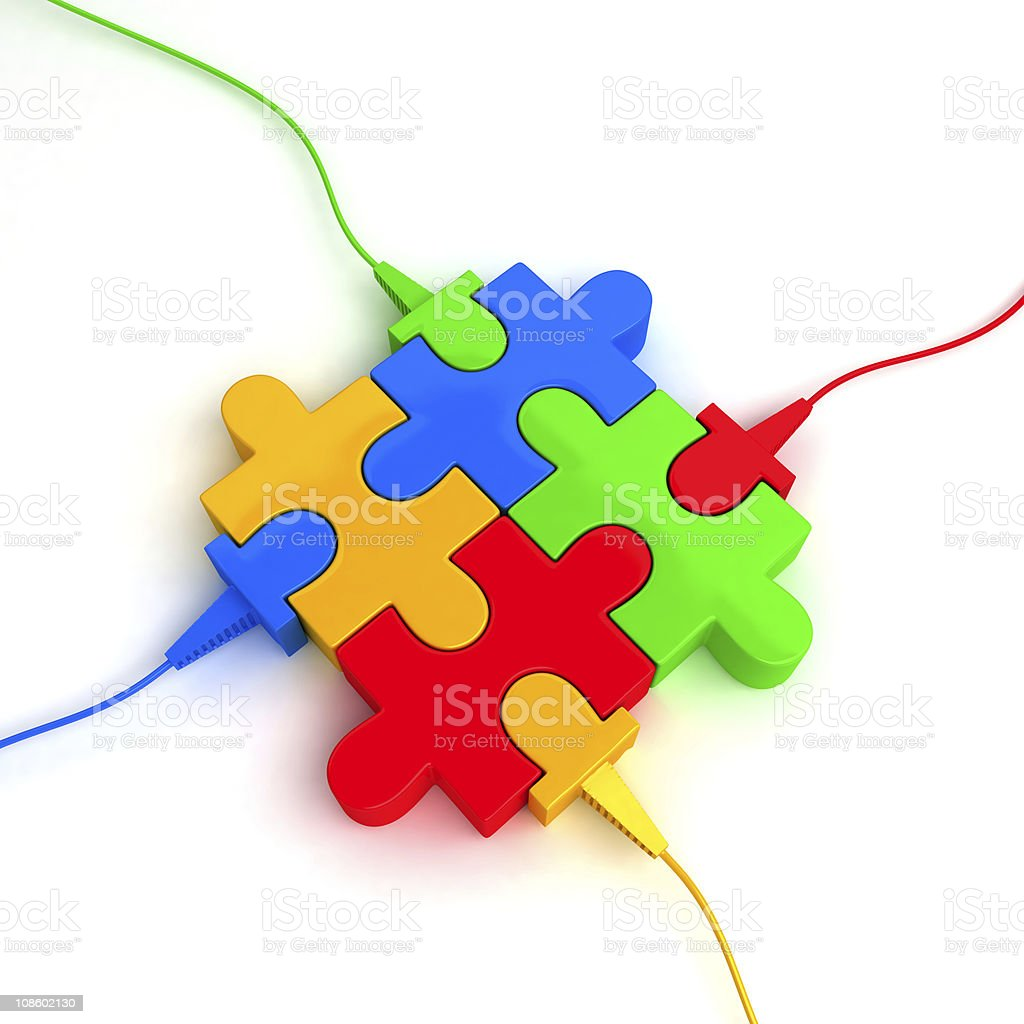 Puzzle consisting of four parts with cable royalty-free stock photo