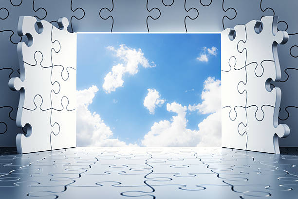 puzzle doors open to the clouds - open gate stock photos and pictures