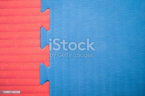 Close-up of red and blue interlocked exercise mat