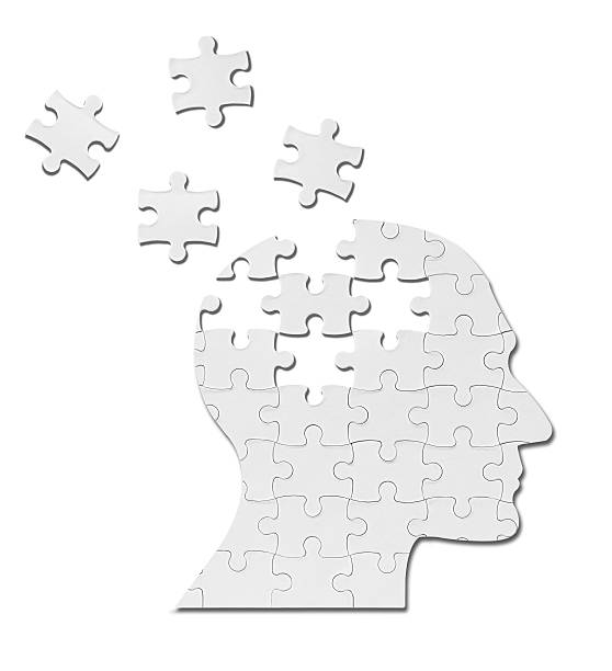 puzzle game solution head silhouette mind brain stock photo
