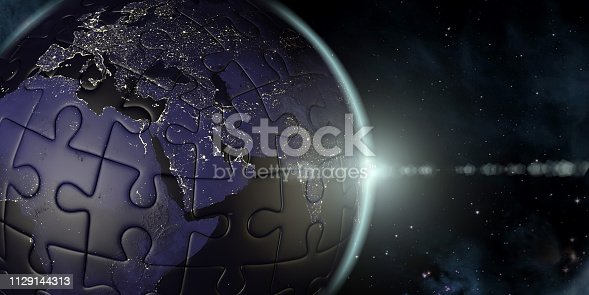 istock Puzzle Globe Earth View From Space 1129144313