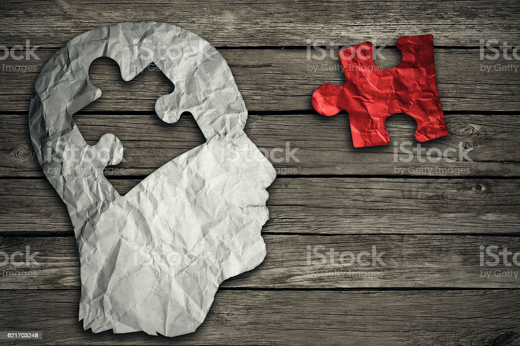 Puzzle head brain concept stock photo