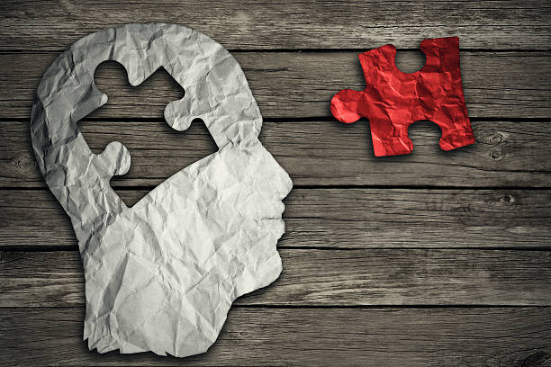 puzzle head brain concept - uneven stock photos and pictures