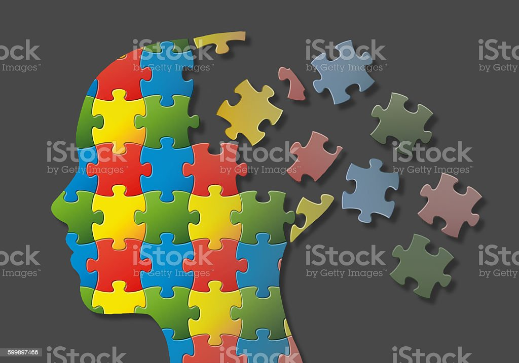 Puzzle head stock photo