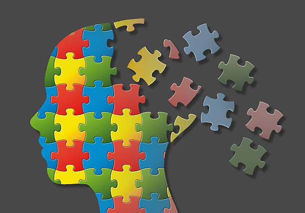 Puzzle head stock photo