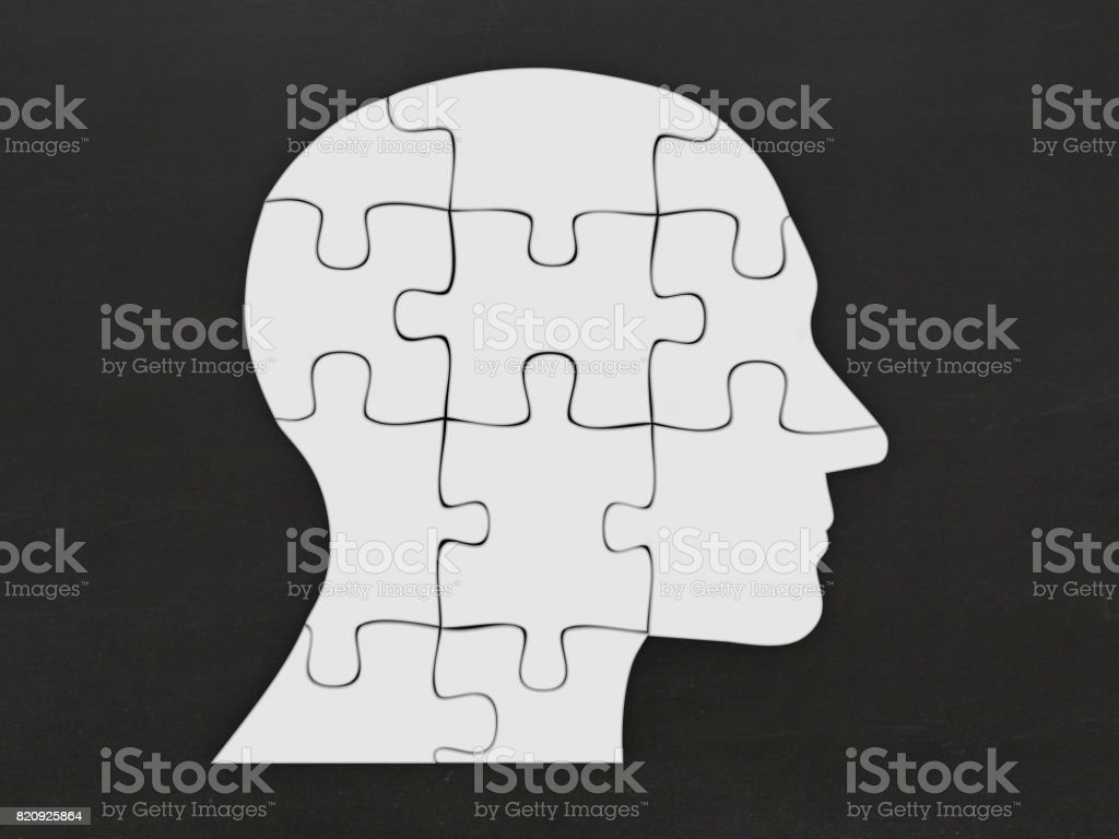 Puzzle head silhouette mind brain memory stock photo