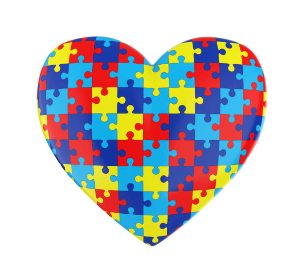 Puzzle Heart Autism Awareness Isolated stock photo