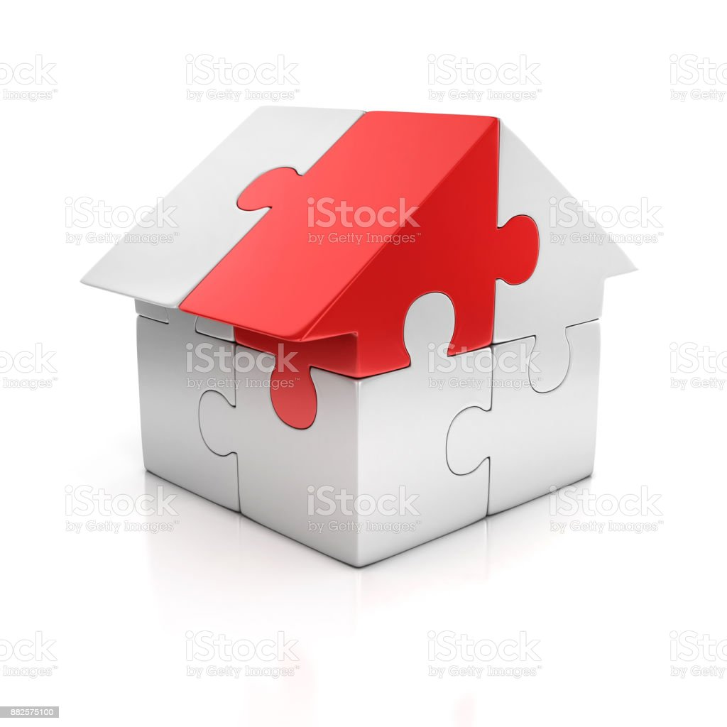 puzzle house one red piece 3d illustration stock photo