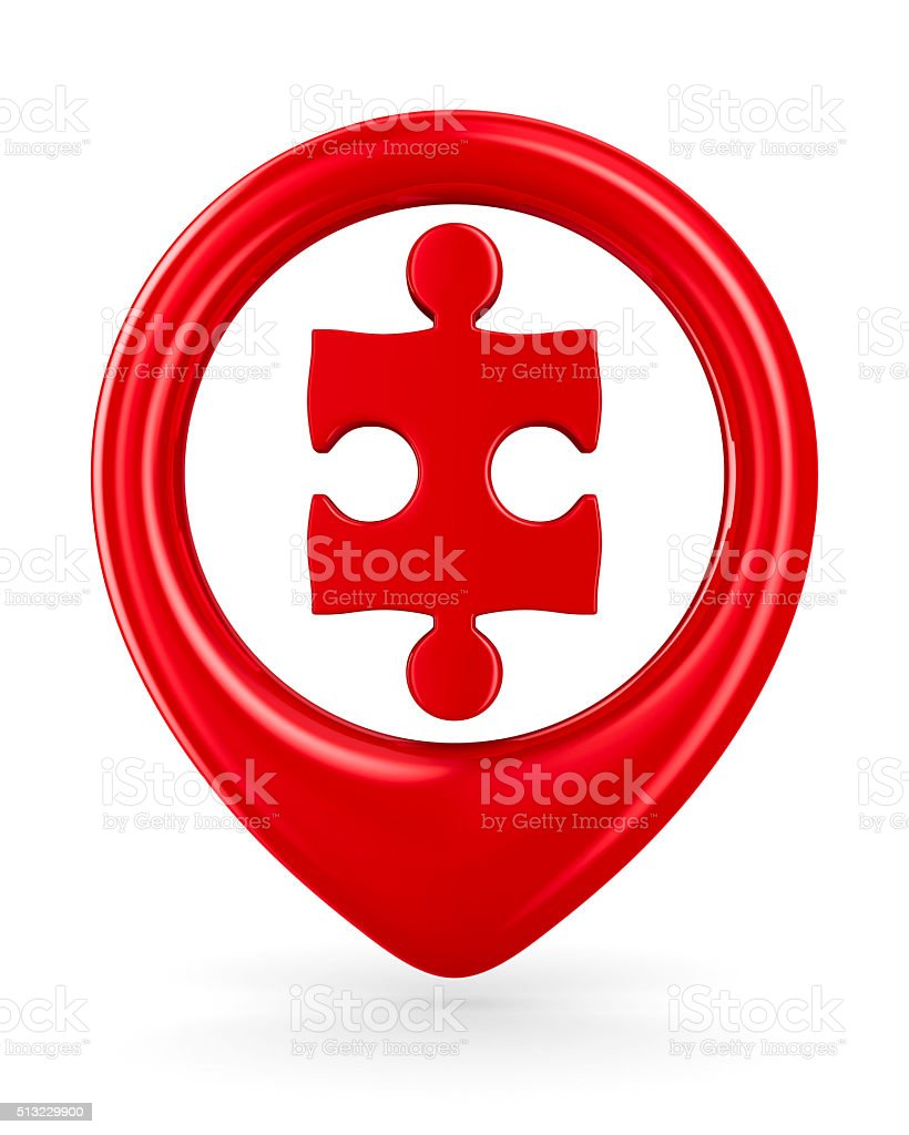 Puzzle into circle on white background. Isolated 3D image stock photo