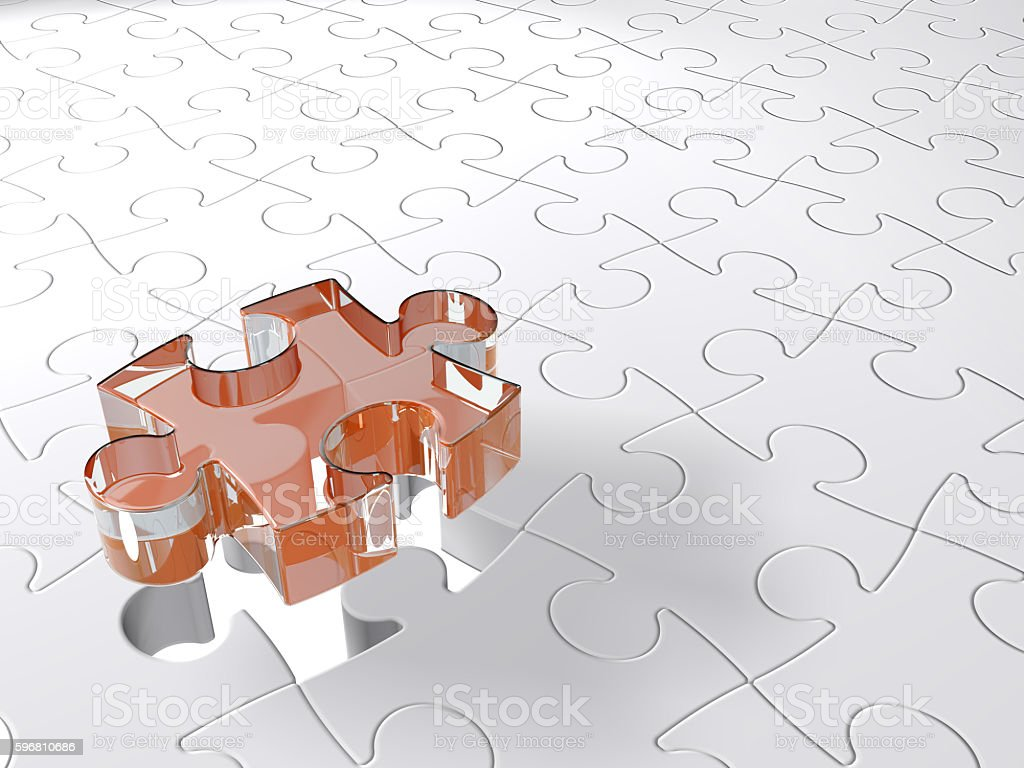 Puzzle Last Piece Coming Down, 3d Glass on White Background stock photo