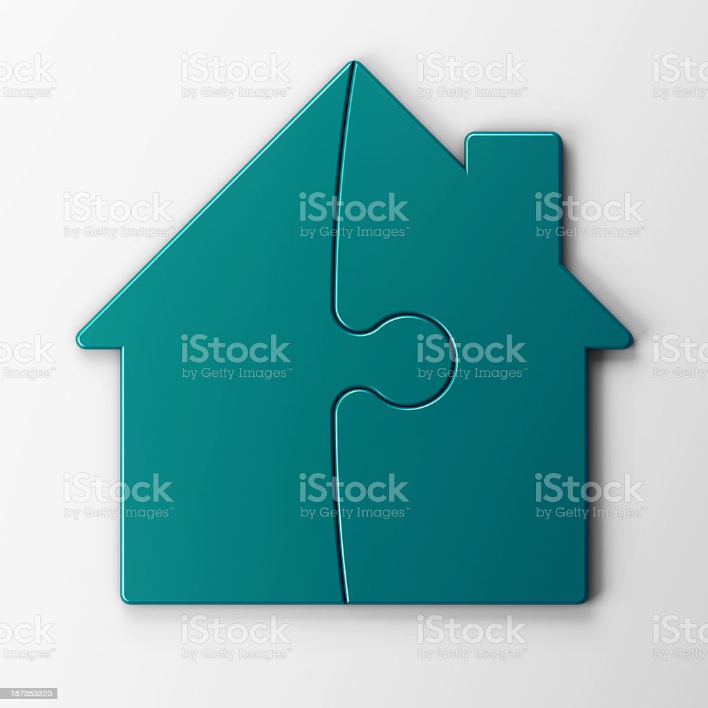 puzzle of a house with clipping path royalty-free stock photo