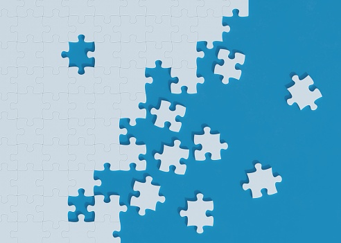 Puzzle on blue background 3d rendering
