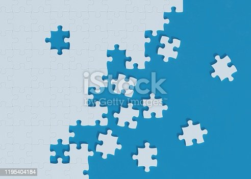 puzzle, blue background, 3d rendering