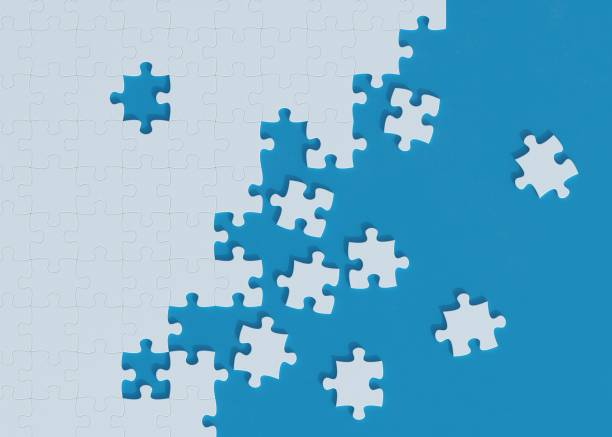 puzzle on blue background 3d rendering - puzzle foto e immagini stock