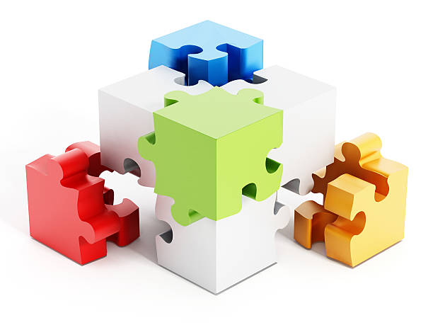 Puzzle parts forming a cube shape stock photo