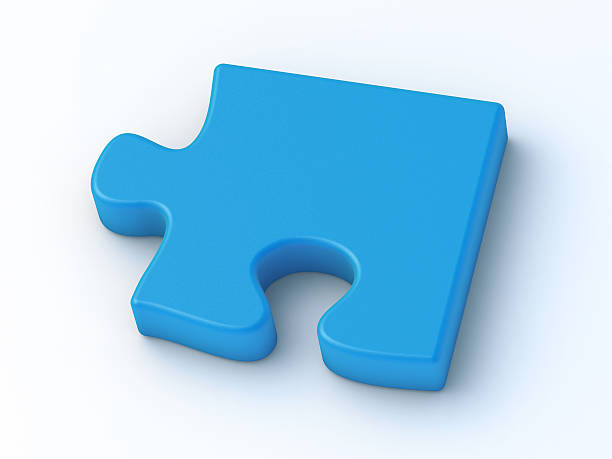 Puzzle Piece Blue 3D Render of a blue puzzle piece. Very high resolution available! blue 3d business NOT map NOT background stock pictures, royalty-free photos & images