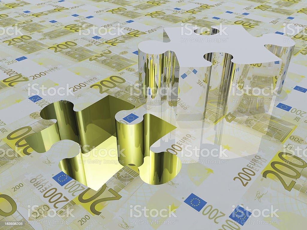 Puzzle piece Euros stock photo