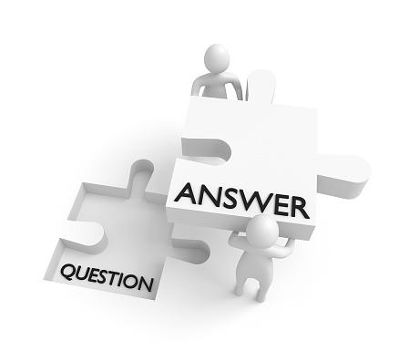 Puzzle Piece Question And Answer 3d Men 3d Illustration ...