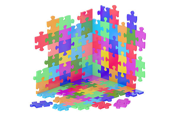 Puzzle Pieces, 3D rendering stock photo