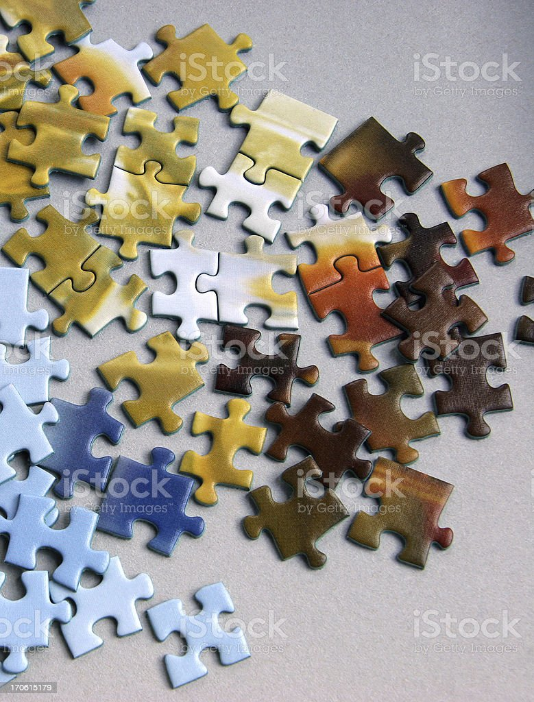 Puzzle Pieces Connected. royalty-free stock photo