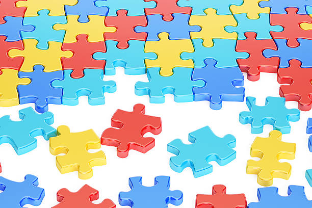 Puzzle Pieces in Autism Awareness Colors, 3D rendering stock photo