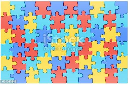 Puzzle Pieces in Autism Awareness Colors Background, 3D rendering